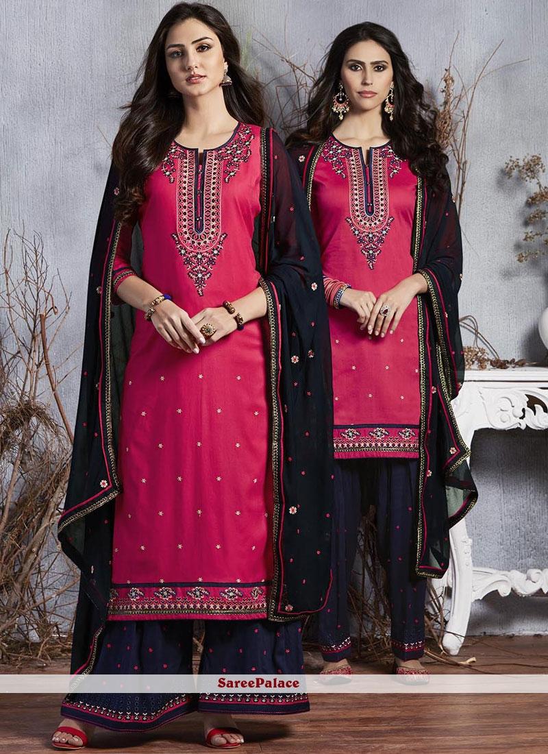 Resham Satin Hot Pink Designer Suit