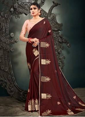 Burgundy Resham Satin Silk Designer Saree