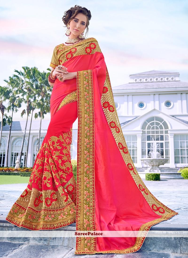Resham Satin Silk Designer Traditional Saree in Rose Pink