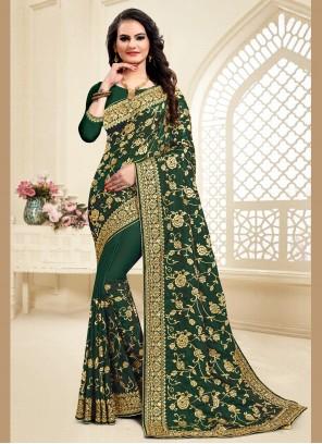 Resham Satin Silk Traditional Saree in Green