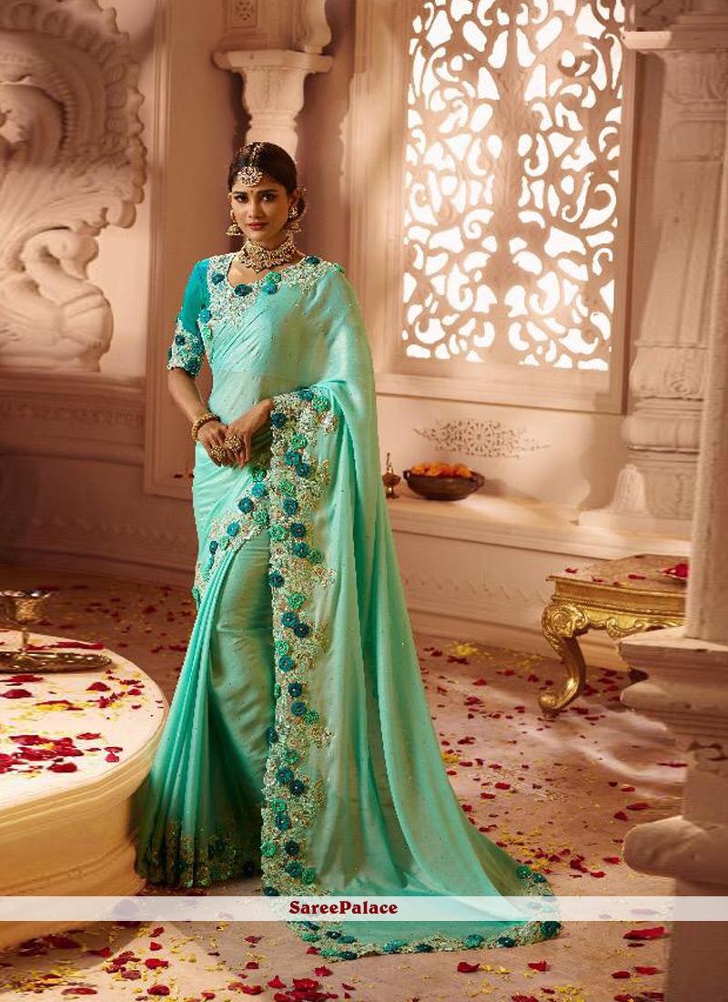 Resham Sea Green Fancy Fabric Classic Saree