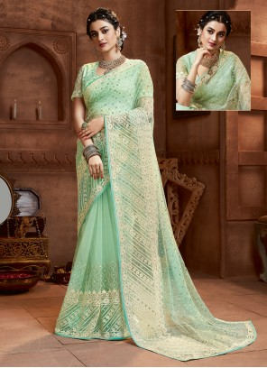 Resham Sea Green Net Classic Saree