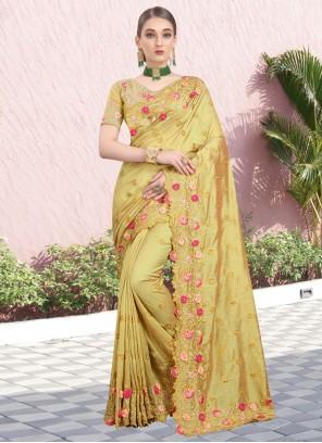 Resham Silk Bollywood Saree in Mustard