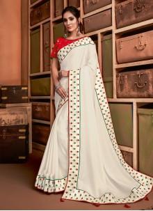 Resham Silk Classic Saree in Off White