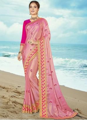Resham Silk Classic Saree in Pink
