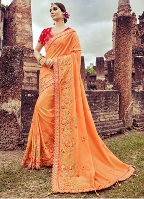 Resham Silk Designer Saree in Peach