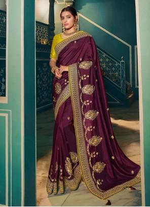 Resham Silk Magenta Classic Saree