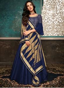 Resham Silk Navy Blue Designer Salwar Suit