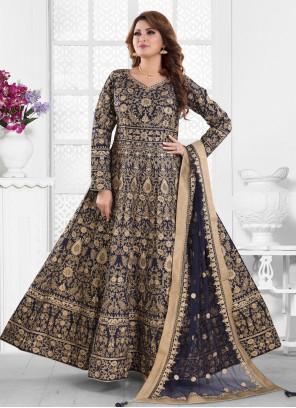 Resham Silk Navy Blue Floor Length Anarkali Suit