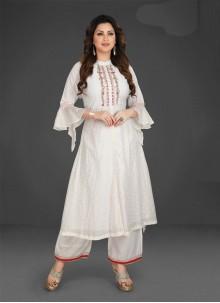 Resham Silk Palazzo White Designer Salwar Suit
