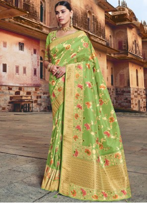 Resham Silk Traditional Saree in Green