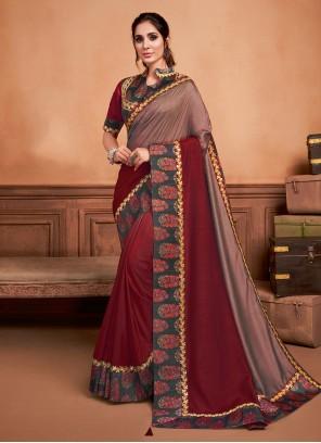 Resham Silk Wine Classic Saree