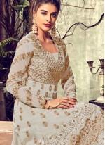 Resham Tissue White Floor Length Anarkali Suit