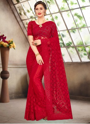 Red Resham Traditional Designer Saree