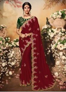 Maroon Resham Traditional Designer Saree