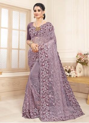 Lavender Resham Trendy Saree