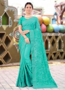 Resham Turquoise Designer Saree