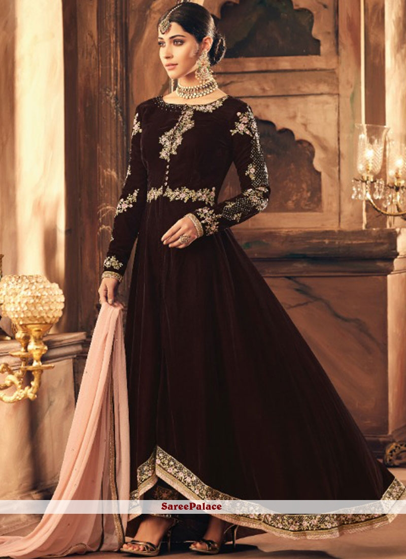 cfd30a1a8c39 Buy Resham Velvet Brown Floor Length Anarkali Suit Online