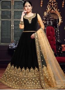 Resham Velvet Floor Length Anarkali Suit in Black