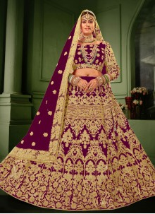 Purple Embroidered Resham Velvet Lehenga Choli