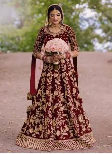 Resham Velvet Maroon Floor Length Anarkali Suit