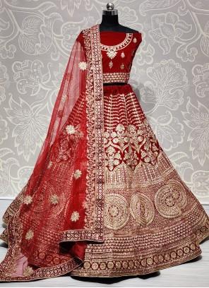 Resham Velvet Red Lehenga Choli
