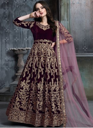 Resham Velvet Wine Floor Length Anarkali Suit