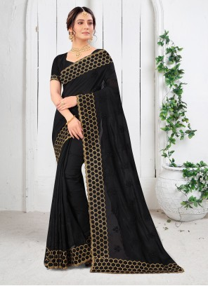 Black Embroidered Resham Vichitra Silk Saree