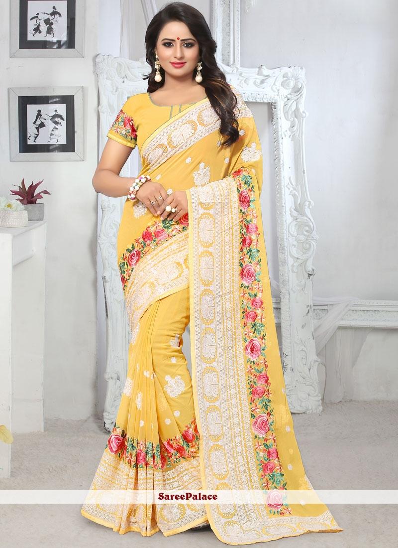Yellow Resham Wedding Classic Saree