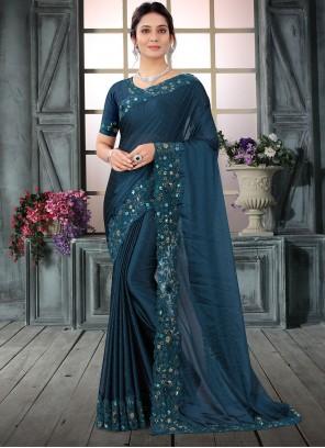 Navy Blue Resham Wedding Contemporary Saree