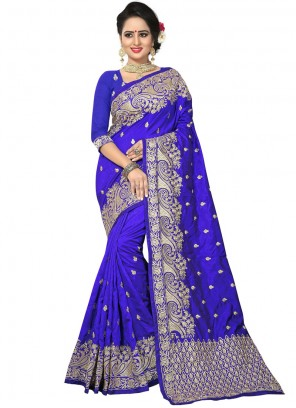 Blue Resham Wedding Designer Traditional Saree