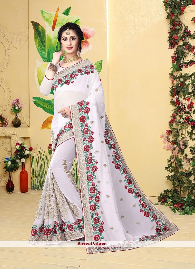 Resham White Classic Designer Saree