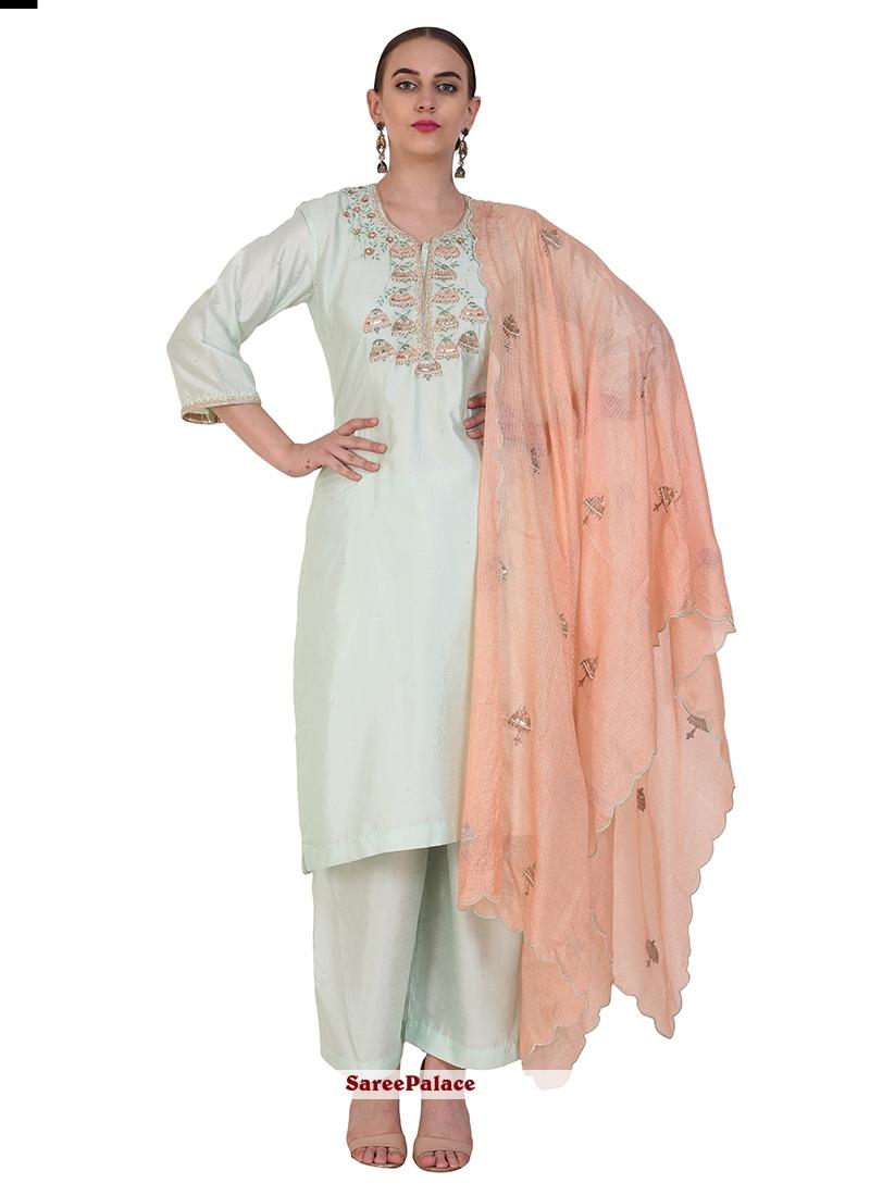 Resham White Designer Suit