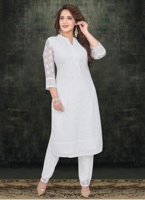 Resham White Salwar Kameez