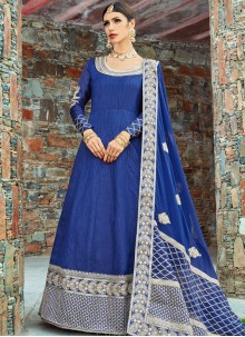 Resham Work Art Silk Floor Length Anarkali Suit
