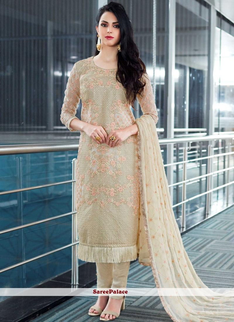 7b83fd23f0 Buy Resham Work Beige Fancy Fabric Designer Pakistani Suit Online
