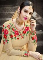 Resham Work Beige Faux Georgette Floor Length Anarkali Suit