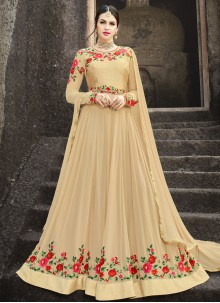 Resham Work Beige Faux Georgette Floor Length Anarkali Suit