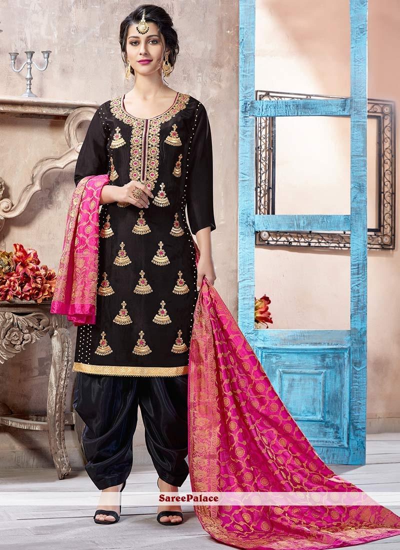 Resham Work Black Punjabi Suit