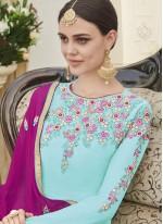 Resham Work Blue Faux Georgette Designer Straight Suit