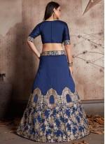 Resham Work Blue Lehenga Choli