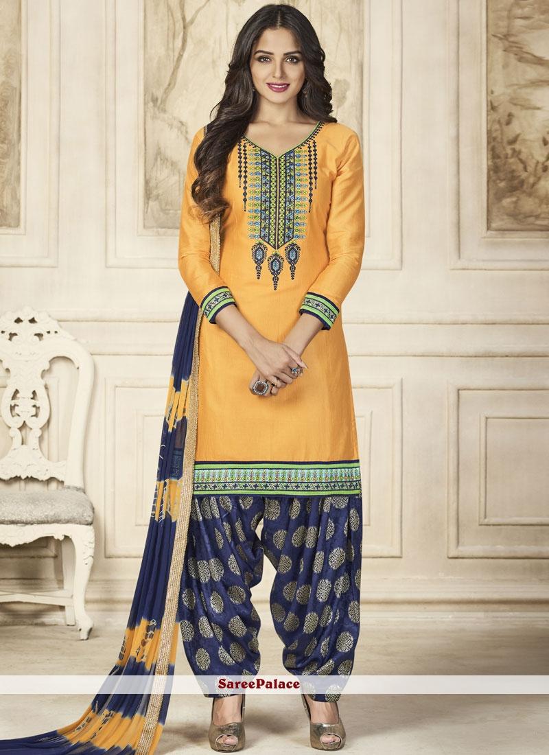 Resham Work Cotton   Designer Patiala Suit
