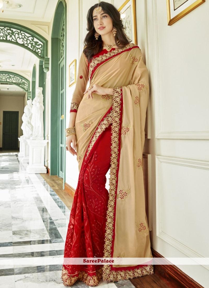 Resham Work Designer Half N Half Saree