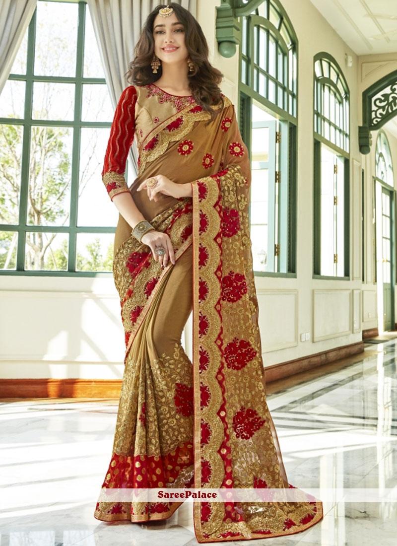 Resham Work Faux Georgette Classic Designer Saree