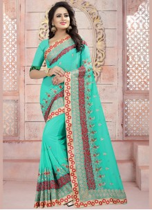 Resham Work Faux Georgette Saree