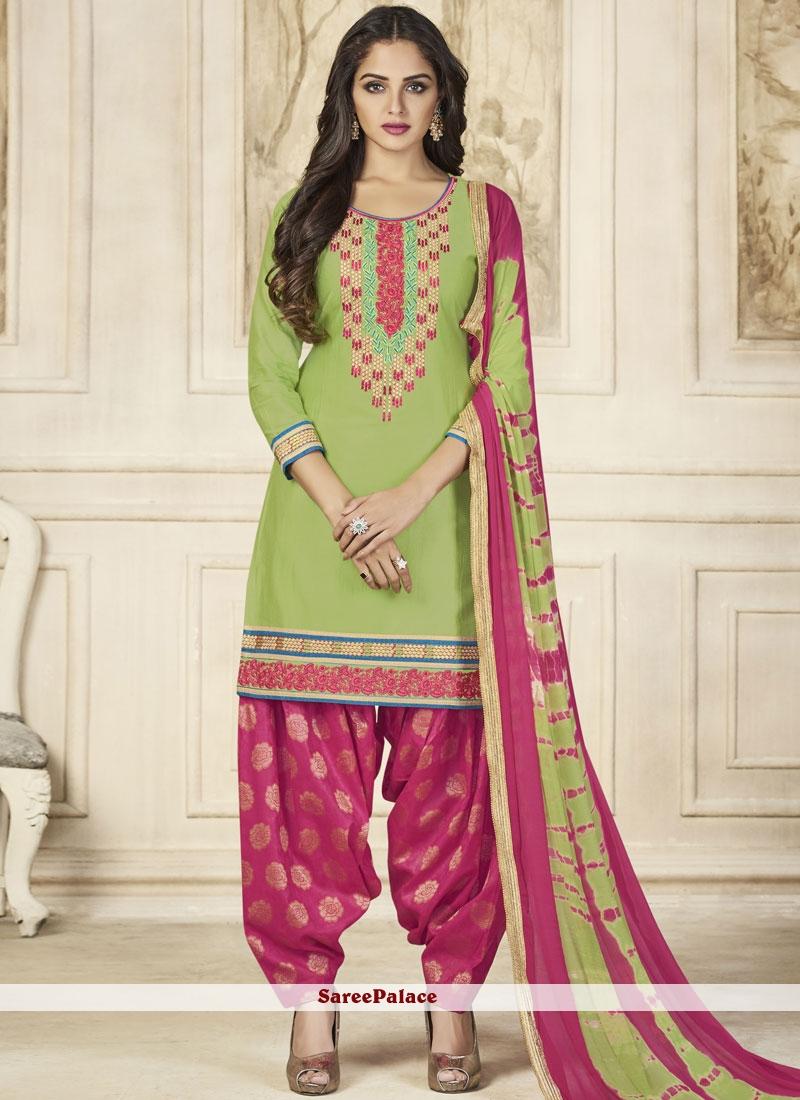 Resham Work Green Designer Patiala Suit