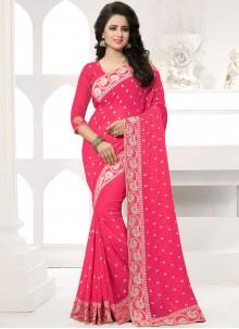 Resham Work Hot Pink Designer Saree