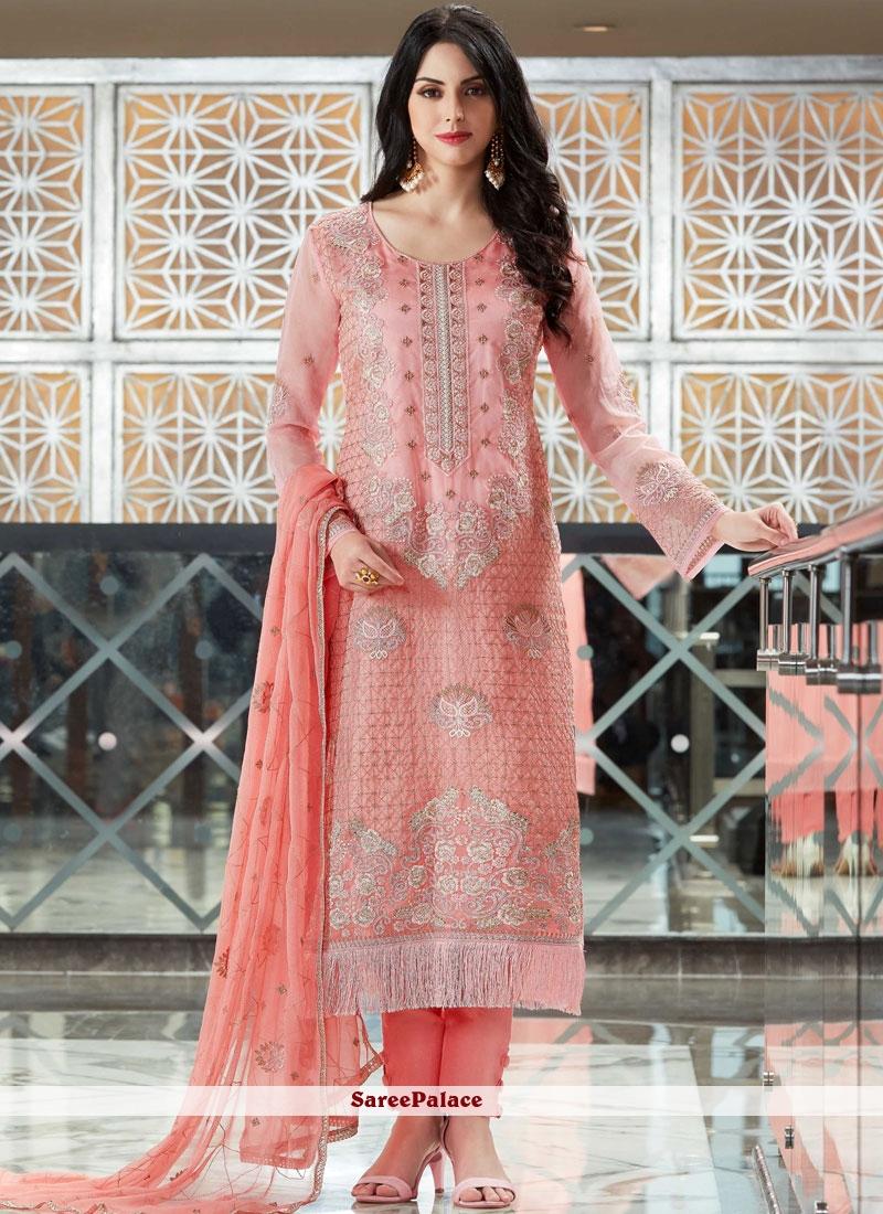 bef8d819ae Buy Resham Work Pink Designer Pakistani Suit Online