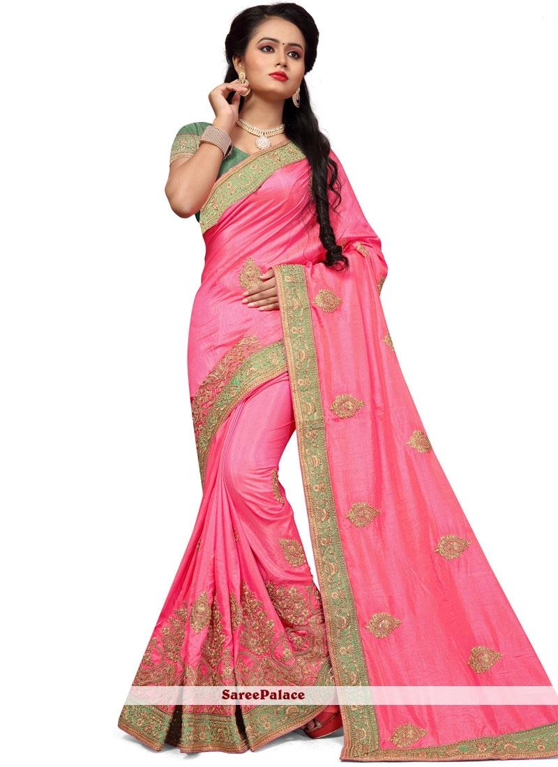Resham Work Pink Designer Traditional Saree