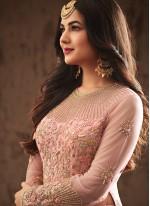 Resham Work Pink Net Designer Suit
